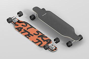 四轮滑板车双翘滑板甲板样机贴图PS立体效果图展示设计素材 Y0060