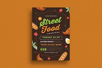 海报模板美食节传单海报设计 Street Food Festival Flyer
