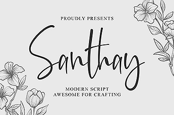 现代钢笔书法英文字体 Santhay – Modern Script Font