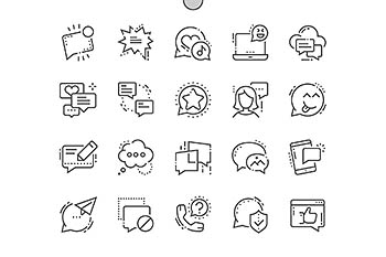 信息线型图标 Messages Line Icons