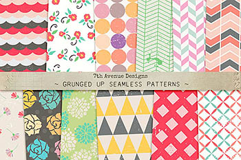 Grunged Up Seamless Patterns 无缝图案背景纹理