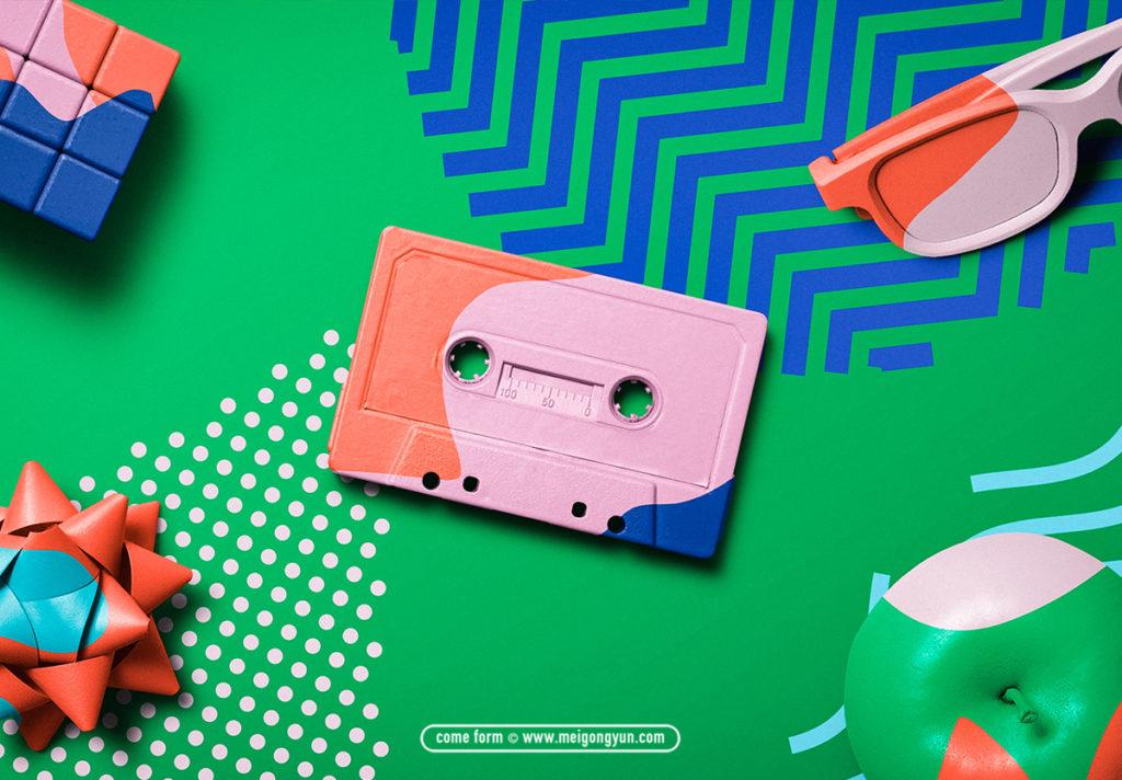 样机 | 时尚炫彩缤纷彩色磁带元素展示模板设计素材模板