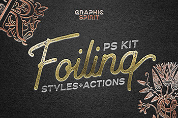 图层样式质感烫金字体效果PS Photoshop Foil Stamp Effect Toolkit
