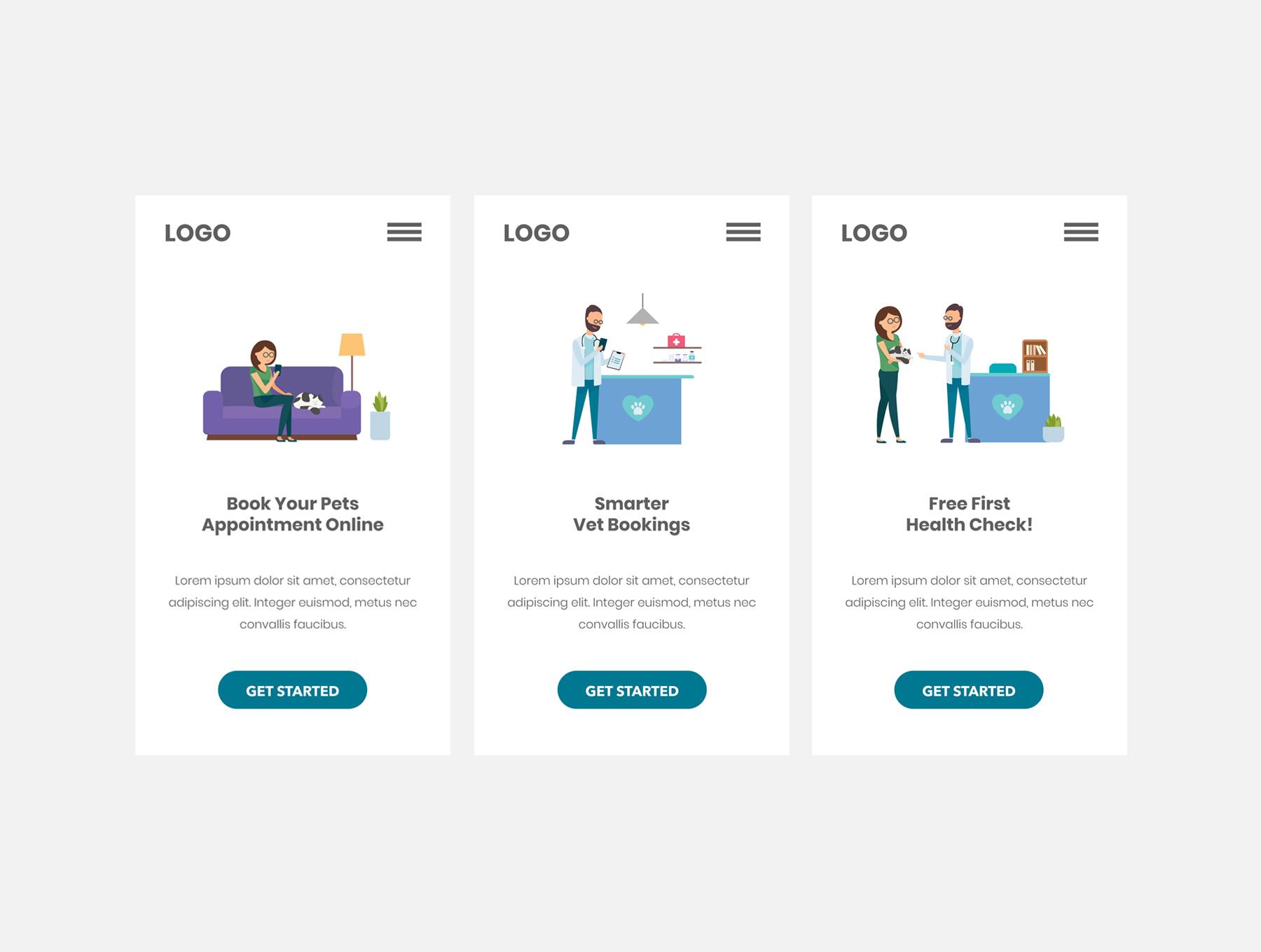 宠物医院兽医诊所服务概念插画下载[Ai]设计素材模板