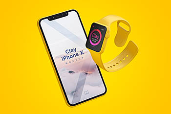 智能手表手机样机模型 Clay Apple Watch and iPhone X Mockup