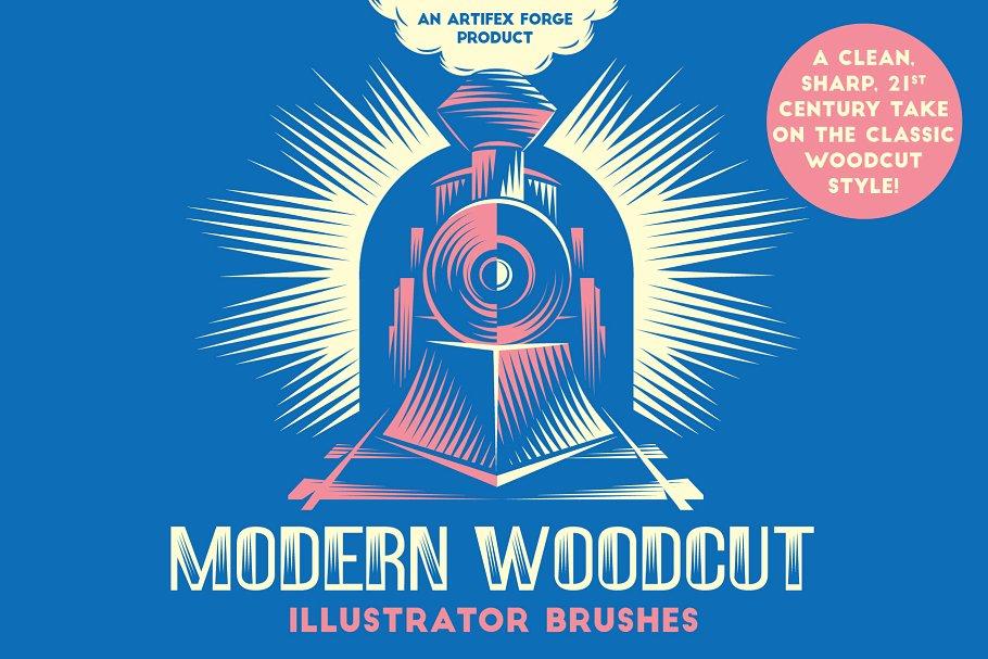 现代木刻画笔笔刷 Modern Woodcut Brushes设计素材模板