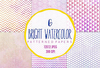 Watercolor patterns, 6 digital paper 水彩图案纹理背景