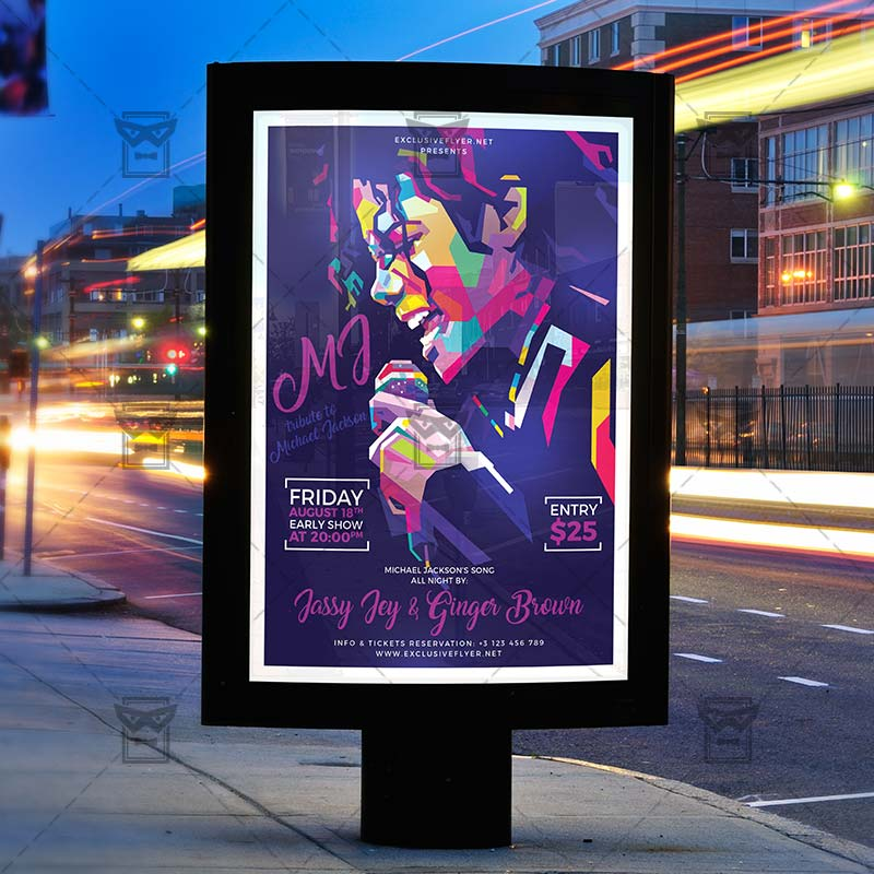 免费的,怀念迈克杰克逊演唱会活动海报PSD设计素材模板