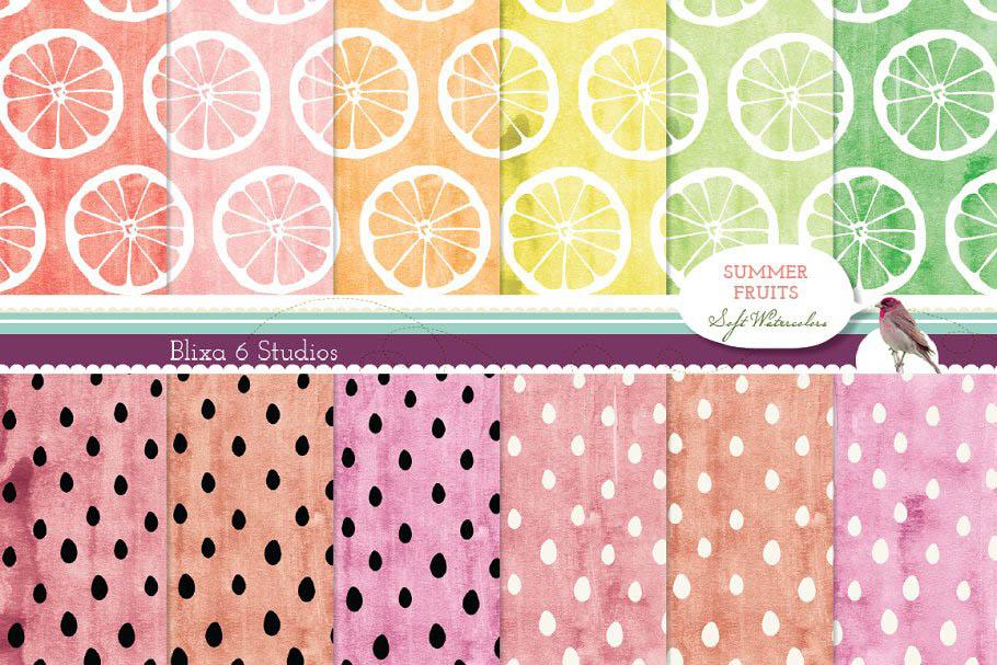 12 Summer Fruit Digital Patterns 12个夏季水果图形背景纹理素材