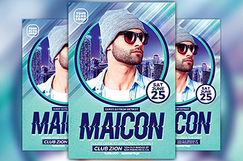 海报制作模板DJ音乐 DJ Maicon Party Flyer Template