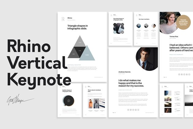 垂直主题模板 Rhino Vertical Keynote Template