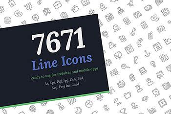 多功能线型图标 7671 Line Icons