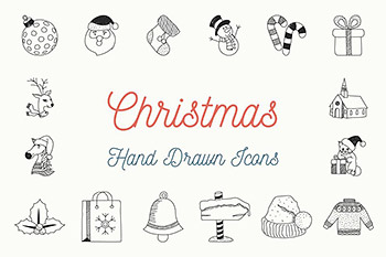 圣诞手绘图标素材 Christmas Hand Drawn Icons