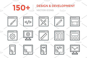 150+开发和设计图标 150+ Design and Development Icons