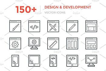 150+开发和设计图标 150+ Design and Development Icons