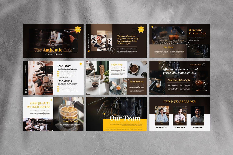 咖啡主题PowerPoint幻灯片设计模板 Authentic Coffee Presentation Template设计素材模板
