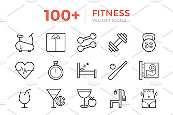 100+健身矢量图标 100+ Fitness Vector Icons