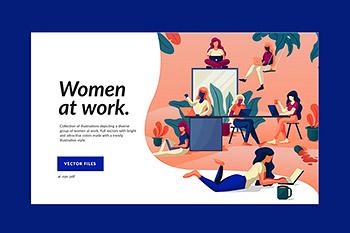 UI插画优雅高端时尚多用途的高品质职业女性插图海报banner着陆页设计模板