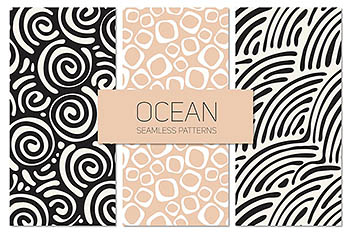 海洋无缝图案集 Ocean Seamless Patterns Set