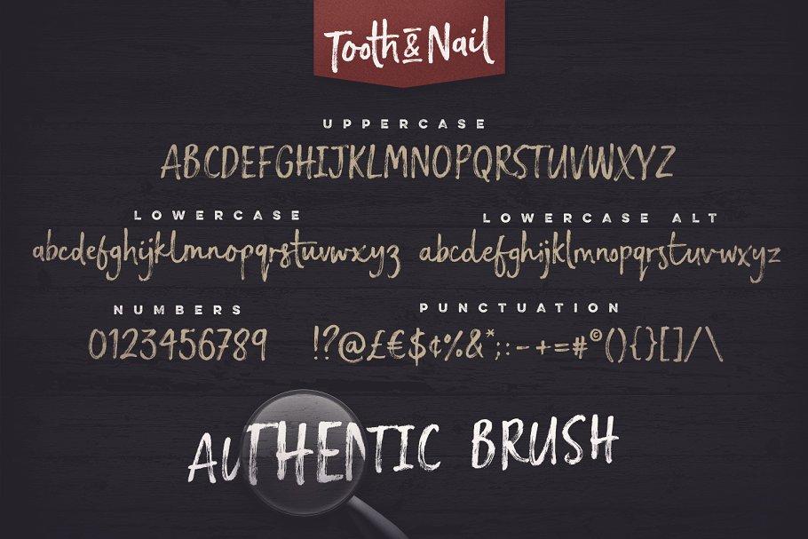 手写笔刷字体 Tooth & Nail Dry Brush Font设计素材模板