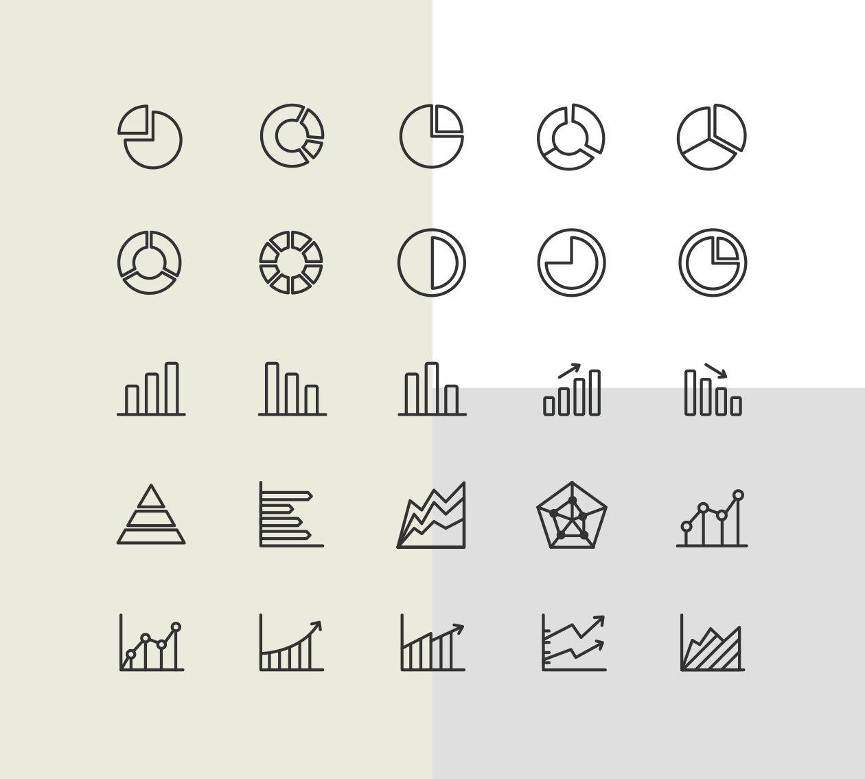 绘制精良的数据统计类图标下载[for Ai]设计素材模板