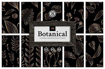 包装背景奢华高端设计必备的烫金植物图案素材包下载[Ai]