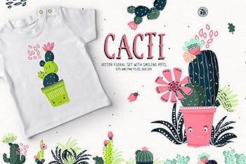 植物花卉设计仙人掌绿植矢量素材 Cacti With Smiling Pots