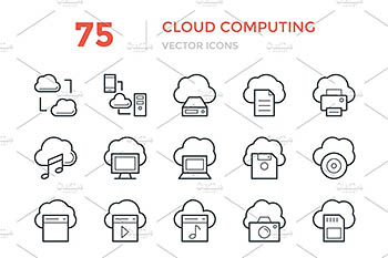 75个云计算矢量图标 75 Cloud Computing Vector Icons