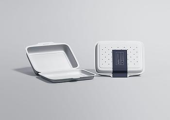 高端餐厅外带外卖包装盒设计图样机模板 Restaurant Food Packaging Mockup