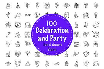 100个派对和圣诞节盛会图标 100 Celebration and Party Doodles