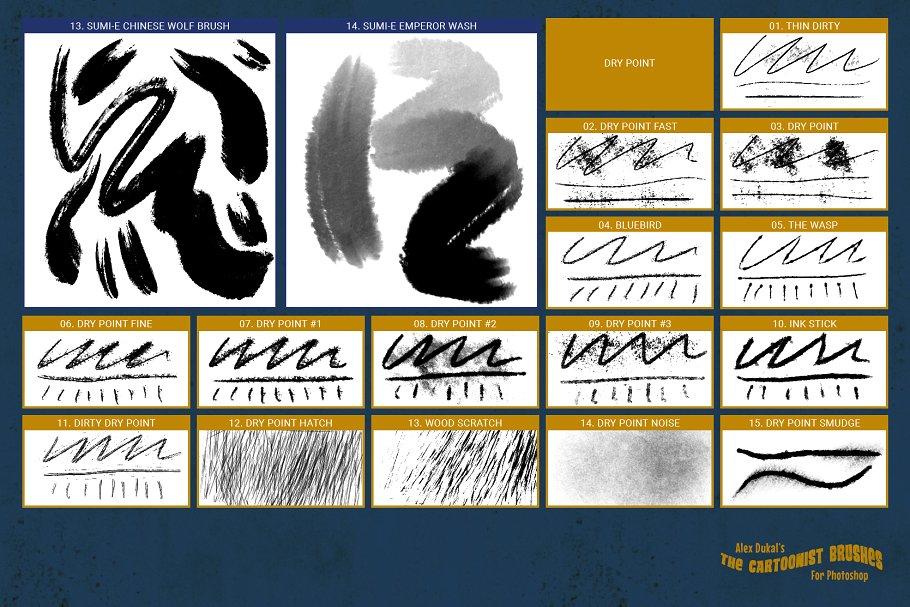 iPad专业的钢笔笔刷 The Cartoonist Brushes设计素材模板