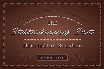 缝纫线效果的Ai笔刷 The Stitching Set – AI Brush