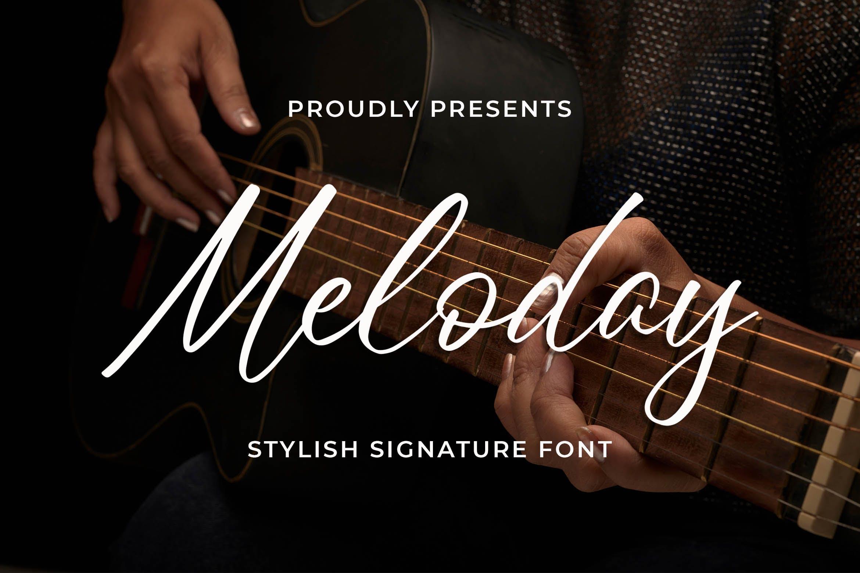 英文时尚签名手写字体 Meloday – Stylish Signature Font设计素材模板
