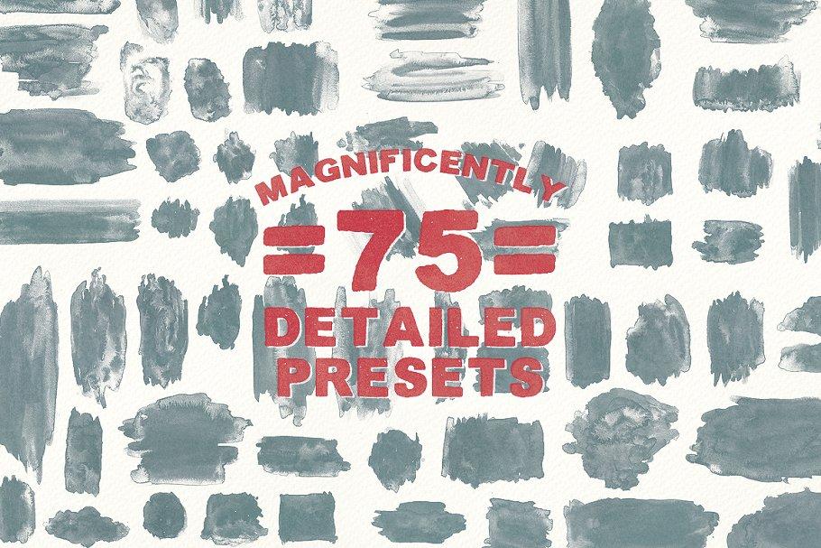 75个水彩画笔刷套装 75 Watercolor Brushes – Vol.2设计素材模板
