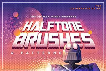 半调色的画笔图片素材包 Halftone Brushes + Bonus Patterns
