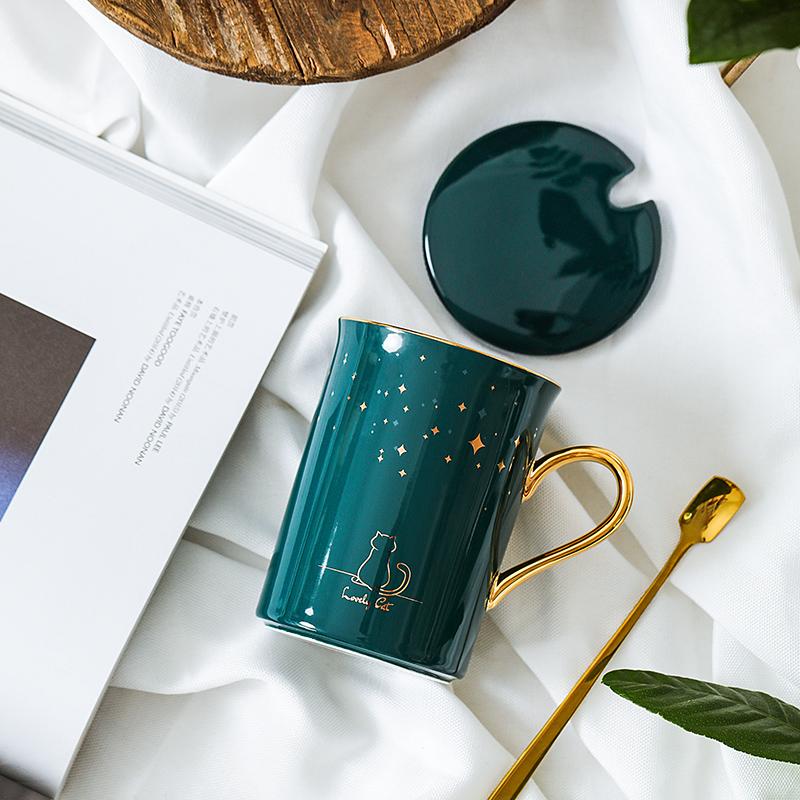 北欧简约ins骨瓷陶瓷杯水杯马克杯描金咖啡杯创意情侣对杯带盖勺