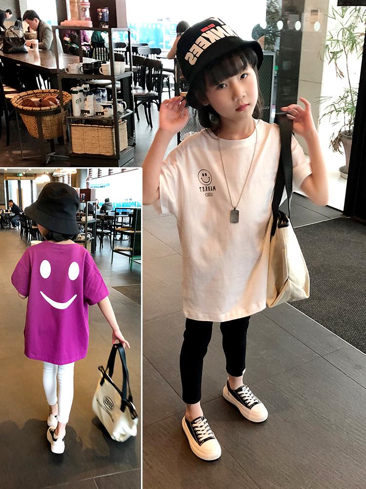 女童t恤2019新款夏装儿童洋气宽松短袖韩版中大童中长款上衣体恤