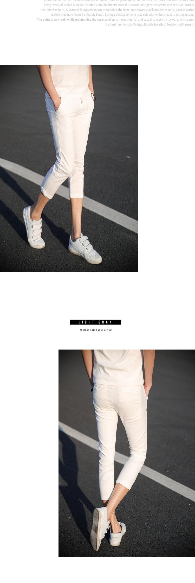 Mùa hè quần âu thủy triều mỏng quần short sinh viên nam Hàn Quốc phiên bản của cắt quần thanh niên stretch Slim feet 7 quần
