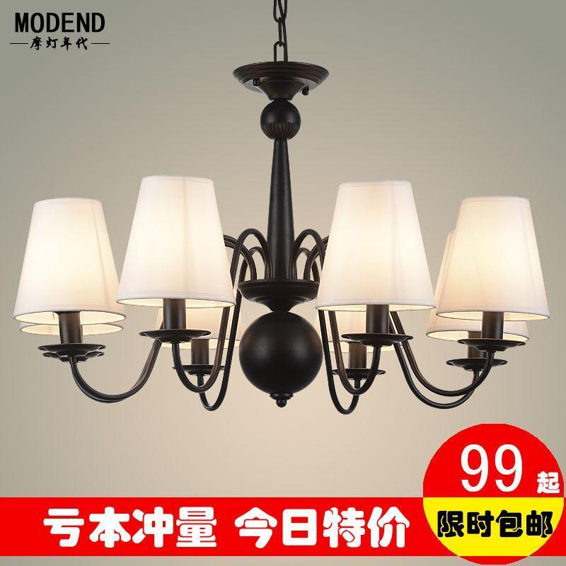 美式吊灯简约乡村客厅灯欧式复古铁艺灯北欧灯饰餐厅卧室8头灯具