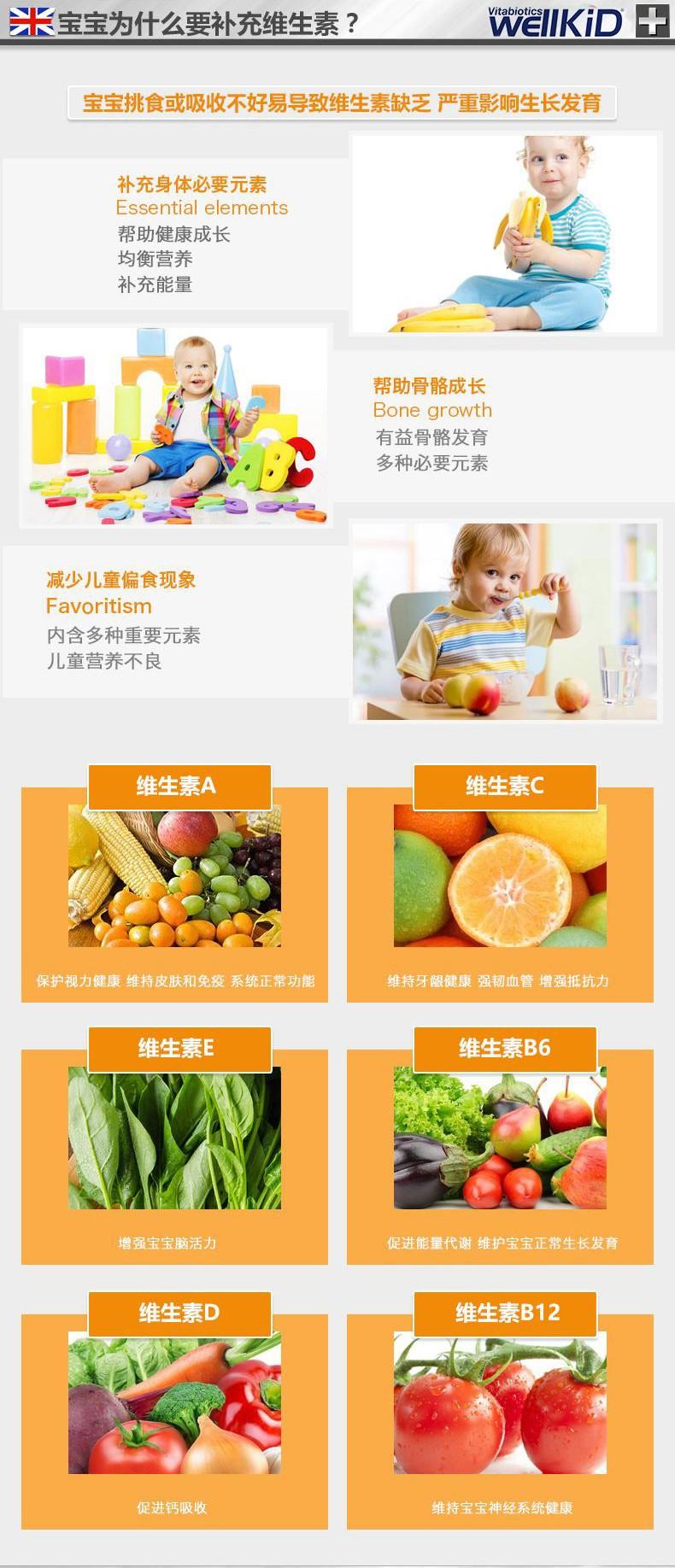 英国vitabiotics wellkids宝宝儿童多种维生素营养液150ml进口 产品系列 第3张