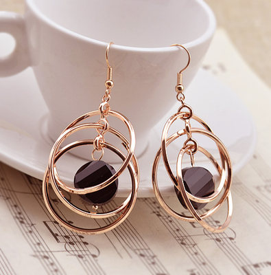 European and American fashion three-dimensional multi-circle 925 silver ear hook big earrings without ear ear ear clip fashion exaggerated ear, female personality