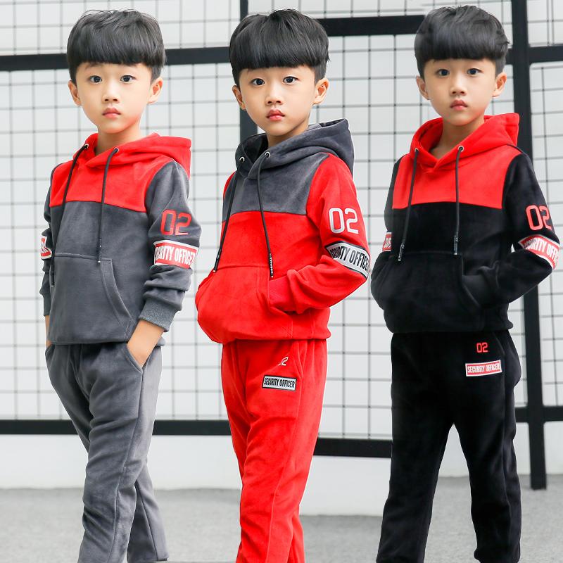 童装男童加绒套装2017新款冬装儿童加厚双面金丝绒运动卫衣两件套