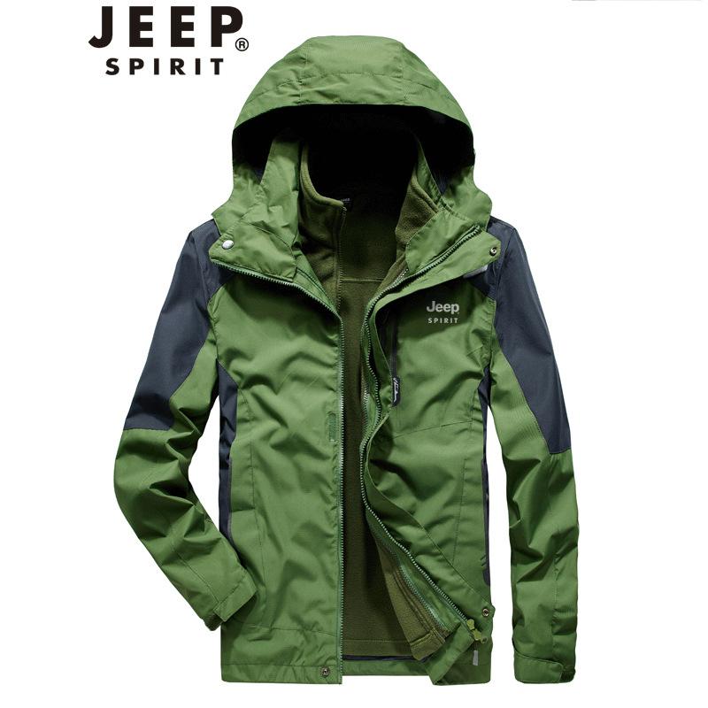JEEP吉普冲锋衣男户外三合一可拆卸登山服秋冬季加绒加厚夹克外套