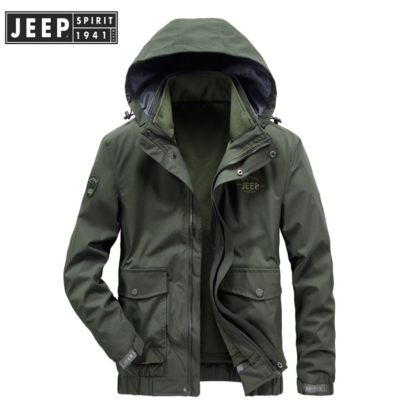 jeep官方正品秋冬新款夹克男士加绒加厚可拆卸三合一冲锋衣外套潮