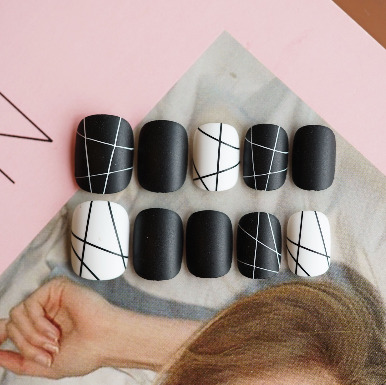 磨砂歐美朋克暗黑新娘可拆卸穿戴防水美甲假指甲貼