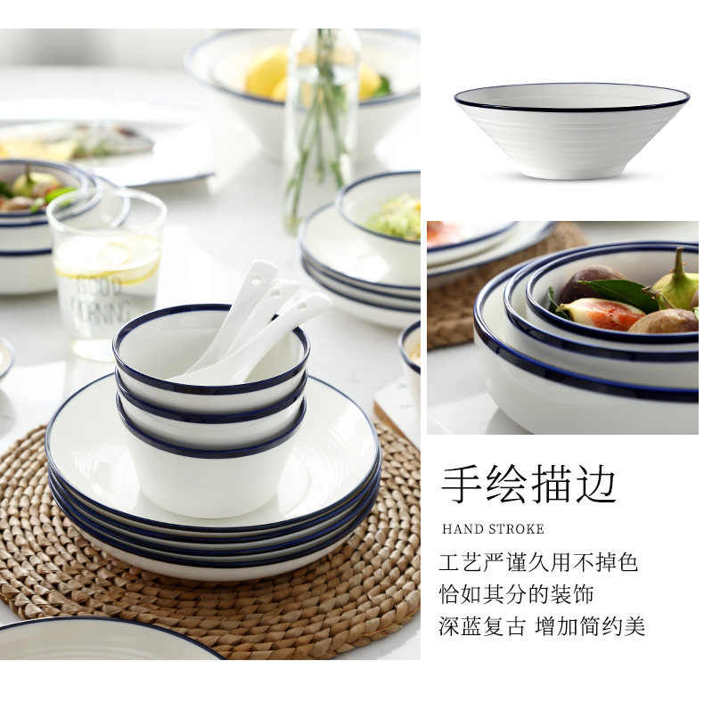 Ceramic bowl household under the glaze color large noodles soup bowl bowl dish dish soup plate consists of jingdezhen Chinese dishes