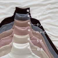 Осень 2019 новая коллекция длинный рукав трикотажный Внутри рубашки осень-зима черный Нижняя рубашка высокая Носить свитер и носить платье верх одежда