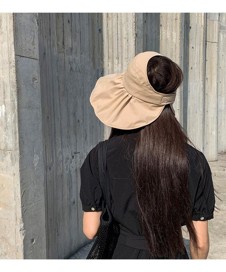 日系抗空顶帽子女夏季薄款黑胶遮阳韩版百搭防晒遮脸无顶帽详细照片