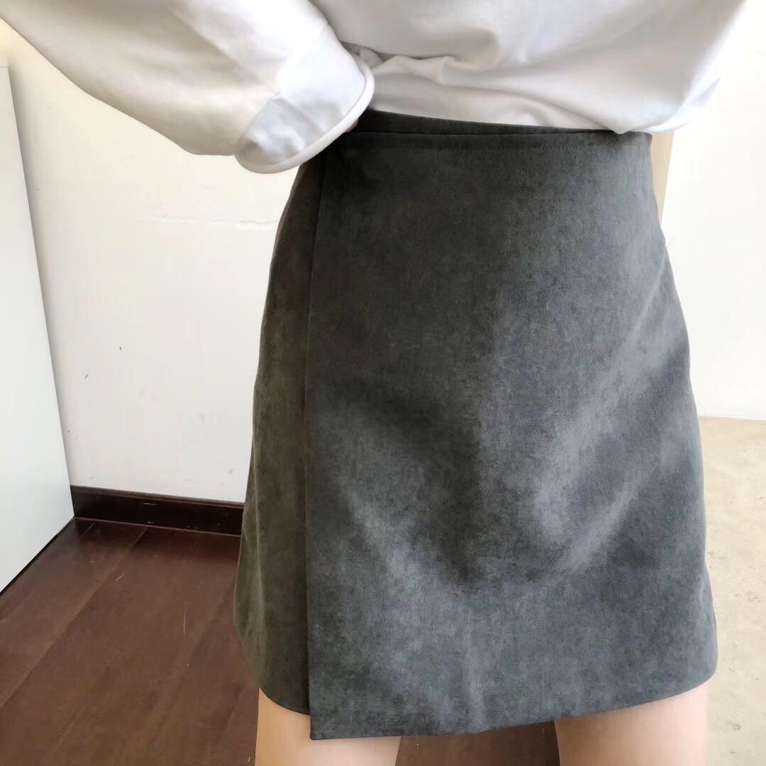 Damo大梦家韩国东半身版型超好大门很特别短裙女秋季新款面料裙