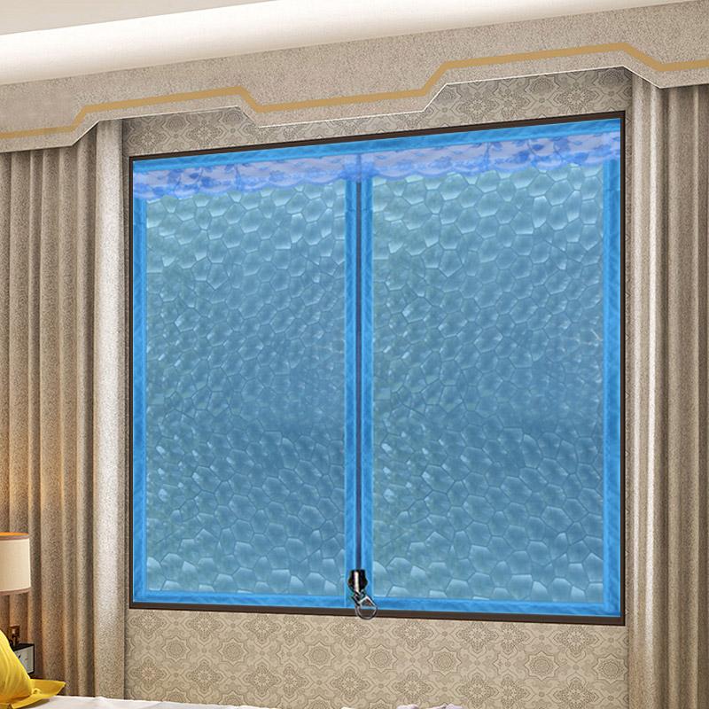 Новая anti теплый ветер занавес печать окно зима отрезать кондиционер занавес сгущаться пластик молния печать сохранение тепла занавес